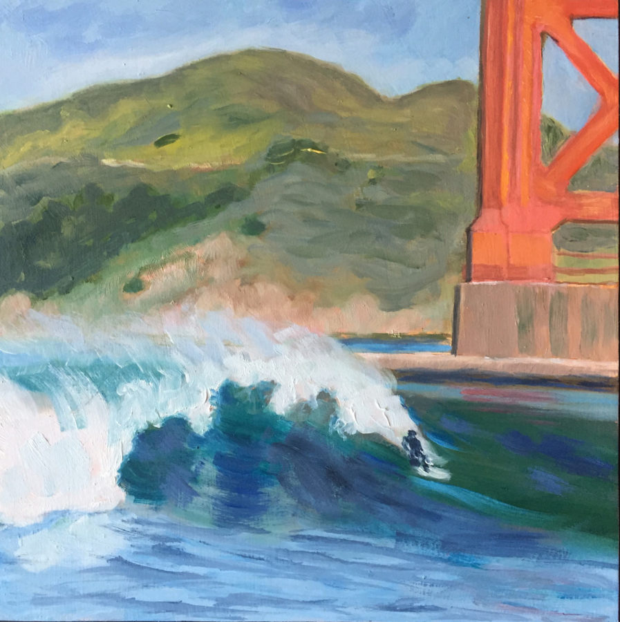 "Golden Gate surfing, 8"" x8"", oil on wood panel"